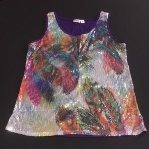 Cato Feather Sequined Tank Top
